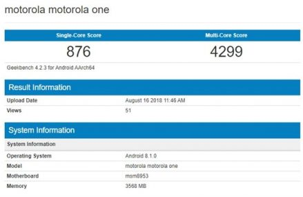 Moto One – Motorola's Android One Smartphone Spotted in Geekbench
