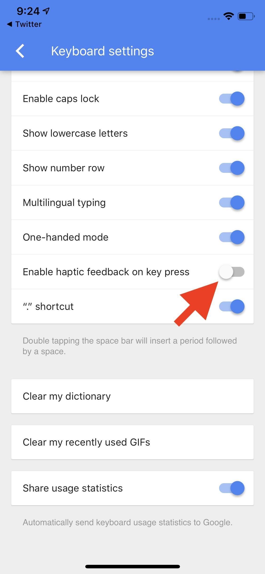 Enable/Disable Haptic Feedback